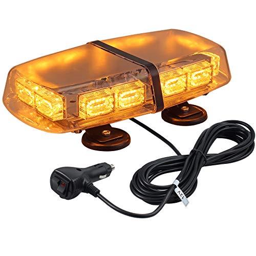 Justech Luce Stroboscopica d'avvertimento 72 LED-12/24V Luci Lampeggianti Emergenza 7 Modalità Flash+Doppio Interruttore con Base Magnetica per Auto Rimorchio Camion Caravane ecc