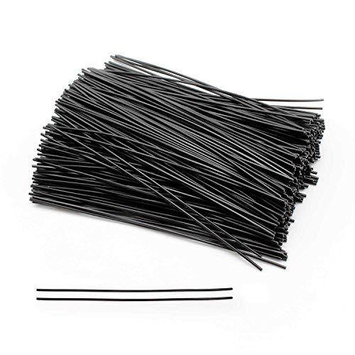 YFaith 500 Piezas Lazo de Alambre de Hierro, Lazos Jardineria Multifunción, Recubierto de Plástico Gestión de Ataduras, para Embalaje Sellado ( 10 cm, Negro )
