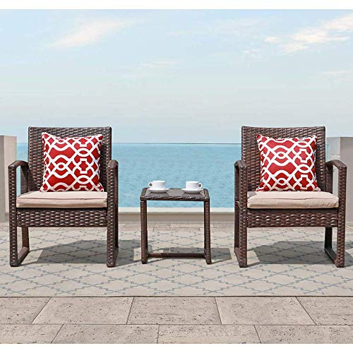 Patiorama 3 Pieces Outdoor Patio Furniture Set, Outdoor Wicker Conversation Set, Patio Rattan Chair Set, Modern Bistro Set with Coffee Table, Garden Balcony Backyard Poolside (Brown)