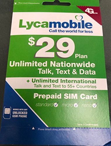 Lycamobile USA Sim Card PRELOADED WITH $29 Unlimited MONTHLY Plan 3 in 1 SIM