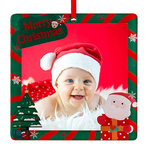 FaCraft Baby First Christmas Ornaments 2020 Cute Baby's First Christmas Photo Frame, Green Personalized Baby's 1st Xmas Keepsake Ornament Gift for New Born Baby, Parents and Grandparents