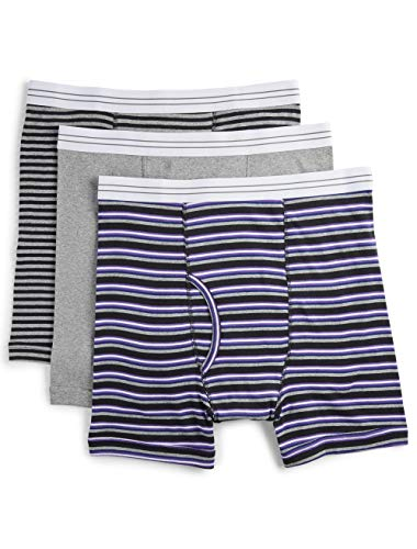 Harbor Bay by DXL Big and Tall 3-Pack Assorted Boxer Briefs, Grey Stripe, 1X