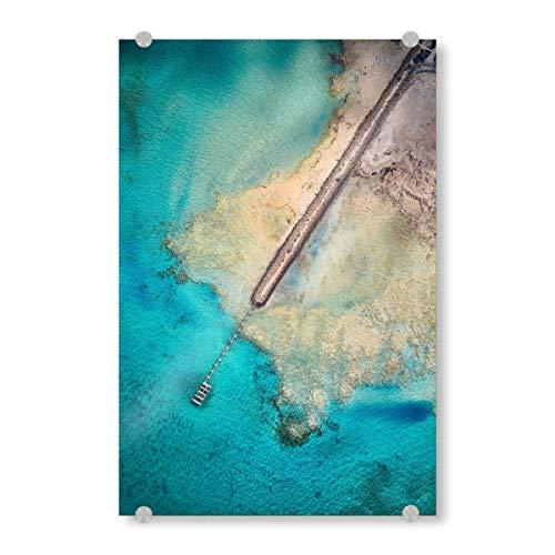 artboxONE Acrylglasbild 30x20 cm Reise/Strand und Meer Gladstone - Bild Steg drohne australien