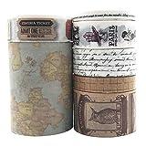 EnYan - Juego de 7 rollos de cinta adhesiva Washi para enmascarar, decoración japonesa, cinta vintage para manualidades, manualidades, álbumes de recortes, planificadores de diario