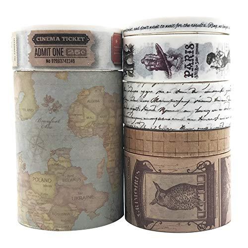 EnYan 7 Rolls Washi Masking Tapes Set, Japanese Decorative Writable Vintage Tape for DIY Crafts Arts Scrapbooking Bullet Journal Planners