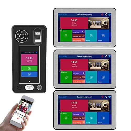 ZCZZ Videoportero inalámbrico WiFi, videoportero de 10 Pulgadas, intercomunicador, cámara de visión Nocturna 1080P + 3 monitores, desbloqueo de la aplicación de reconocimiento Facial de Huellas d