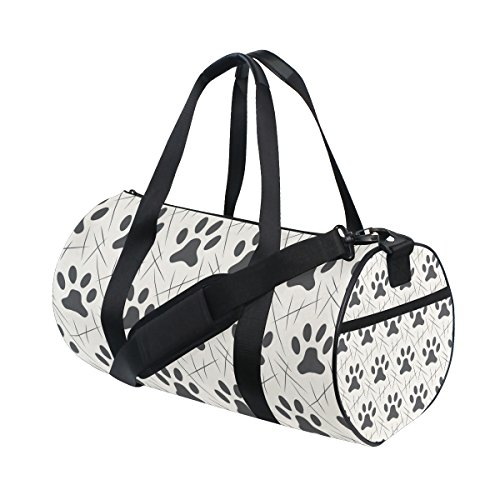 TIZORAX Katzen Hunde Pfoten Footprint Fitnessraum Duffle Bag Drum Tote Reisetasche Rooftop Rack Tasche