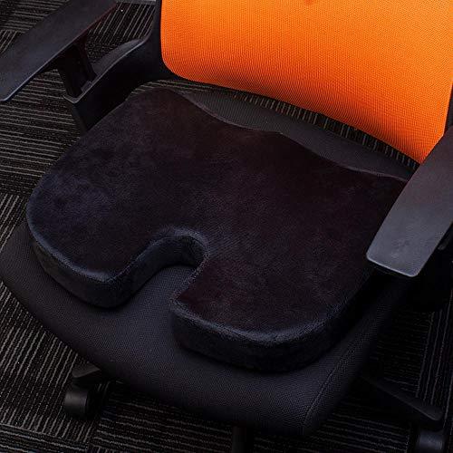 Zitkussen - autostoel zitkussen, heupsteun voor bureaustoel en rolstoel - orthopedisch traagschuimkussen voor stuitje, ischias, pijnverlichting in de rug - (zwart)