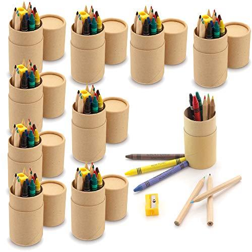 Partituki Packung mit 10 Farbsets für Kinder. Jeweils mit 6 Buntstiften, 6 Buntstiften und 1 Anspitzer. Geschenk oder als Taschenfüller für Partygeschenke für Kinder.