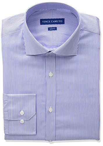 Vince Camuto Men's Slim Fit Spread Collar Dress Shirt, Blue Pinstripe, 15.5 34/35