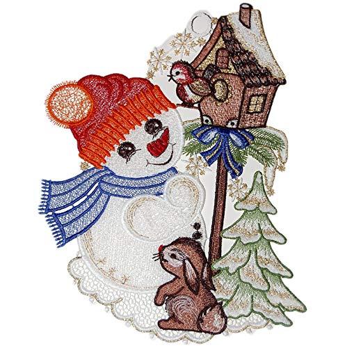 Plauener Spitze niedliches Fensterbild Schneemann Vogelhaus Deko Advent Winter 21x29 cm + Saugnapf