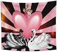 タペストリー黒と白の白鳥ピンクのバラフラワーハートラブウォールハンギングホームリビングルーム寝室の装飾150x200cm