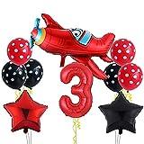 Globo de avión grande para decoración de cumpleaños de 3 años para niños – Globo con número 3 – Globo XXL para avión, globo de estrella y lunares, para fiesta temática