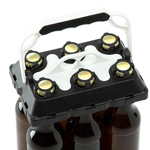 CLICK-IT BOB The Bottle Buddy Flaschenträger I Trage-Hilfe für bis zu 6 Bier-Flaschen I cooles & praktisches Gadget für Deine Party - für 0,33 l Glas-Flaschen I Bottle Carrier (schwarz/weiß)