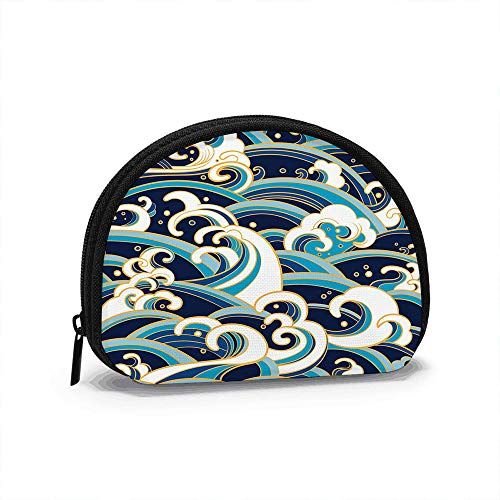 Traditional Oriental Ocean Waves Wave Nature Coin Purse Change Cash Bag Zipper Small Purse Wallets Cosmetic Bag Storage Bag