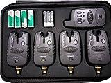 MK-Angelsport Funk Bissanzeiger Set 4+1 Multi Carbon wasserdicht 1:1 Übertragung, Einstellbare Lautstärke & Vibrationsmodus, Angeln