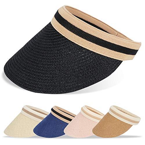 BLURBE Sombreros de Playa - ala Grande Sombreros de Golf Verano con Grande Mujer Tapa de Paja, Gorra de Sol Visor Gorras Anti-UV Adecuado para Caminar (Negro)