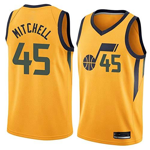 XIAOHAI Men's NBA Sports Basketball Jersey Jazz # 45 Donovan Mitchell Desgaste Transpirable Resistente a la Malla Bordada Baloncesto Swingman Jerseys Camiseta Deportiva Jerseys,Amarillo,L