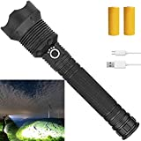 Rechargeable Led Flashlight, 90000 Lumens Super Bright Flashlights High Lumens Powerful Tactical Flashlight with Batteries Included, Zoomable, 3 Modes, Waterproof Flashlight for Emergencies, Camping…
