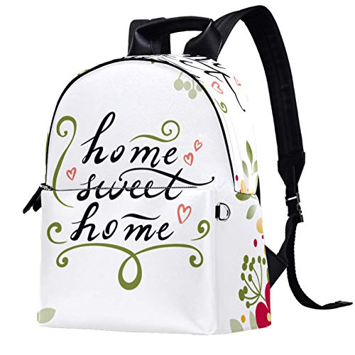 Travel,Hiking Backpack Laptop Backpack, Florals Home Sweet Home Print Casual Large Capacity School Bag for Men Women for Work Office College Business Travel