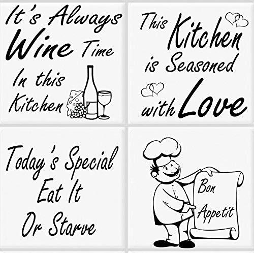 WaterShed Designs - Pegatinas para Azulejos de Cocina (4 Unidades), diseño de Humor