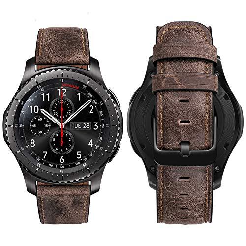 MroTech Correa Compatible con Huawei Watch GT 2/GT 46mm Sport/Active/Elite/GT2 Pro/GT 2e Pulsera Cuero Repuesto para Samsung Gear S3 Frontier/Classic/Galaxy Watch 46mm Banda 22mm-nostálgico Café