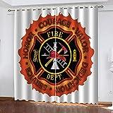 ZHHSJJ Cortina Salon Moderna Bomberos Ojales Opaca Cocina Dormitorio Moderno Aislante termica Ventana habitacion niño oscurecimiento 2 x 168 x 229cm (An x Al)