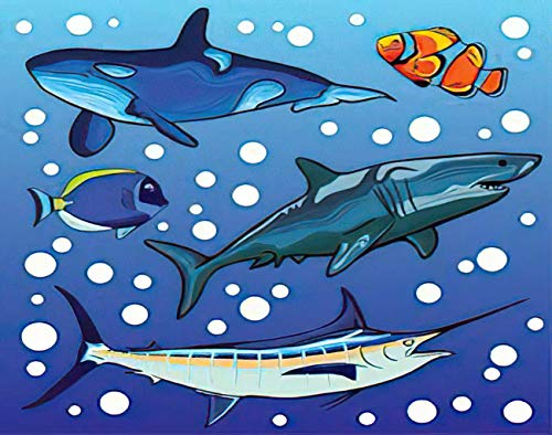 Aofire Narwhal Diamond Painting Kits for Adults Kids, Animal Sea Marlin Fish Whale Orca Clownfish Botana Shark Painting by Number Diamond Dotz 5D Gem Arts Wall Decor 16x20 Inch