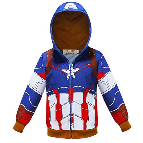 Boys Girls Novelty Superhero Pocket Zipper Long Sleeve Hooded Sweatshirts 2T-8T