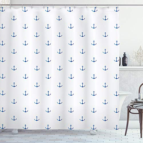ABAKUHAUS Ancla Cortina de Baño, Vivid Blue Anchor, Material Resistente al Agua Durable Estampa Digital, 175 x 180 cm, Azul Blanco