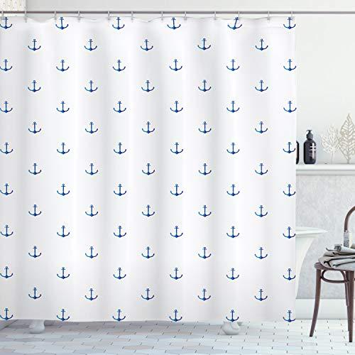 ABAKUHAUS Anker Duschvorhang, Vivid Blue Anchor, aus Stoff inkl.12 Haken Digitaldruck Farbfest Langhaltig Bakterie Resistent, 175 x 180 cm, Blau-weiß