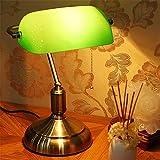 TATANE Lámpara de Escritorio con lámpara de Mesa de Color Verde Esmeralda con Pantalla de Cristal y Base de Abedul sólida mesita de Noche con Interruptor de Encendido