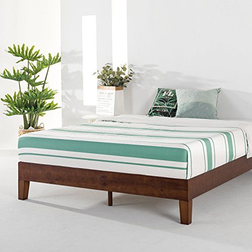 Mellow Naturalista Grand - 12 Inch Solid Wood Platform Bed with Wooden Slats - No Box Spring Needed - Queen (Espresso)