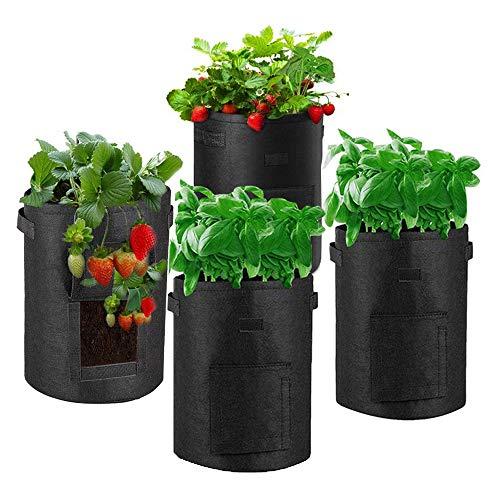 AOUSTHOP Kartoffel Pflanzsack 4 Stück Pflanzen wachsen Taschen für Gemüse Kartoffel Tomaten Karotten Zwiebel Blume Obst (7 Gallonen, Schwarz)