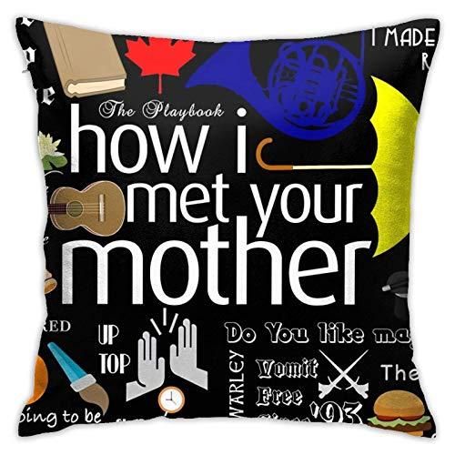 How I Met Your Mother Cuscino Decorazione in Poliestere Cerniera Nascosta Stampa su federe Stampa Digitale Fronte-Retro Divano Federa Quadrato Divano Decorazioni per la casa 18 X 18 Pollici
