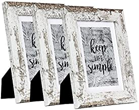 HomeMe 5x7 White Picture Frame 3 Pack - Made to Display Pictures 4x6 with Mat or 5x7 Without Mat - Wide Molding - Wall Mou...