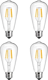 Modvera LED Vintage Edison Edison Bulb 4 Watt - 40W Equivalent Squirrel Cage Filament Clear Glass - ST58 Color Temperature Vintage Warm White 2700K E26 Base Dimmable Wall Light UL Listed - 4 Pack