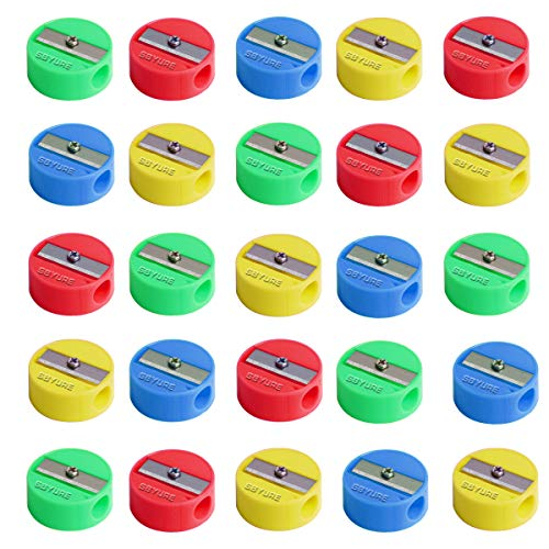 SBYURE 72 Pcs Round Pencil Sharpeners Manual Pencil Sharpener Colorful Plastic Hand Pencil Sharpeners for School Office Home Supplies (Multicolor)