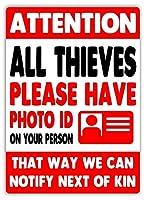 Attention All Thieves ティンサイン ポスター ン サイン プレート ブリキ看板 ホーム バーために