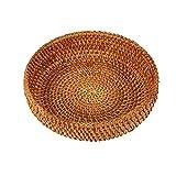 Dciustfhe Cestino rotondo in rattan fatto a mano per l'autunno e la frutta in rattan, cestino per il pane per la cucina, per il pranzo, il pane, il pane