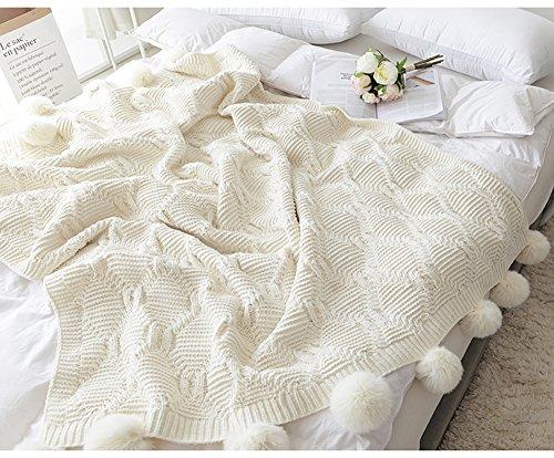 JIJINシジン ホワイトボール毛布ニット 高級で暖かいニットブランケット (130CM×160CM, 白) [並行輸入品]