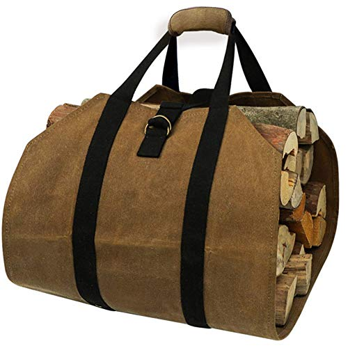 LAIABOR Wood Baskets for Fireplaces Tote Bag Canvas Large Carrier Indoor Fireplace Firewood Totesarm Load Cloth Firewood Carrier,Khaki,98 * 41cm