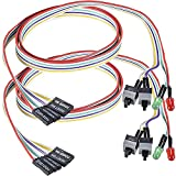Warmstor 2 Pack Desktop Computer Case Motherboard On/Off/Reset/HDD Switch Power Cord PC Power Button Switch Power SW Cable ATX Case Front Bezel Wire with Red Green LED Indicator Light 2-Pin 27-inch