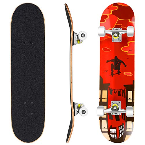 Product Image of the Hikole Skateboard - 31' x 8' Complete PRO Skateboard - Double Kick 7 Layer...