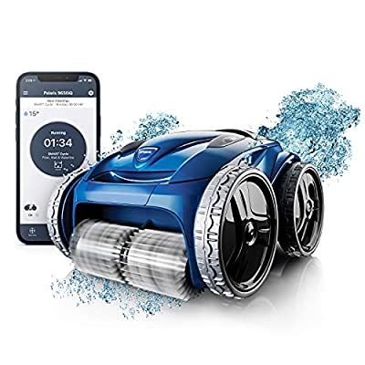 Fluidra 9650IQ Polaris Sport Robotic Vacuum Cleaner with App Remote Control, Extra Large Filter Canister, 70 Ft Cable & Caddy for In Ground Swimming Pool, Multicolored