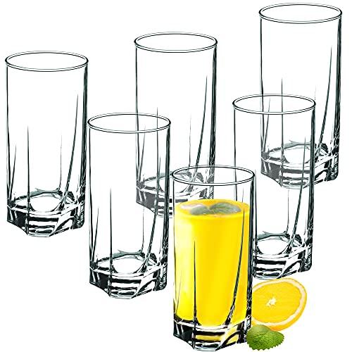 KADAX Juego de 6 Vasos de Cristal, Vasos de Agua, Copas de Zumo, Vasos para servir Agua, Bebida, Zumo, Cócteles, Casa, Fiesta, vasos para bebidas, transparente (380ml, alto)