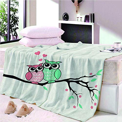 KABANRU-Blanket 3D Printed Throw Blanket (Owl-Cartoon) for Kids Child Adults Soft Warm Reversible Flannel Fleece Blanket for Bed and Couch 150x200CM