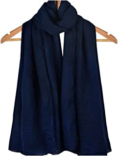 Bullidea Silk Scarf Women's Solid Color Long Decoration Scarf Beach Thin Shawl Wrap Sunscreen Dark Blue