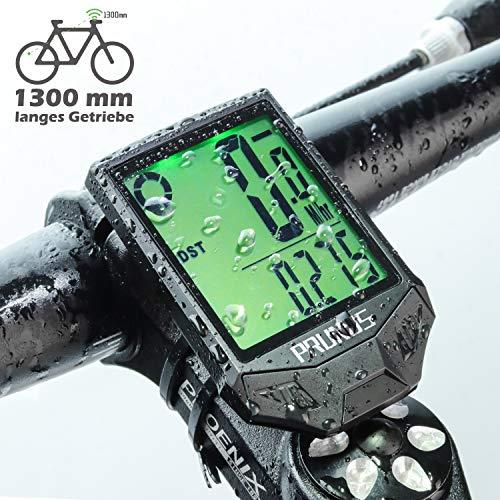 PRUNUS [Aktualisiert] Fahrrad-Tachometer wasserdichte IP66 Fahrrad-Computer Drahtlos mit 20 Funktionen, Rad-Tacho mit Auto an/aus für Outdoor-und Indoor-Tracking
