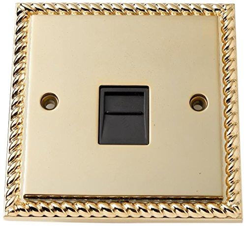 Bulk Hardware BH02785 Georgische telefoonstopcontact, messing, wit